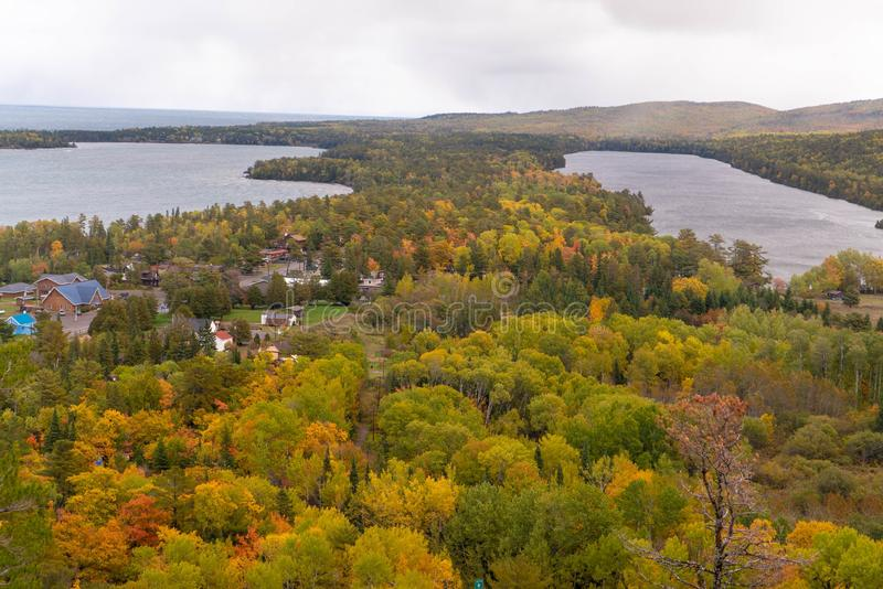 Panoramic view overlooking two lakes and Copper Harbor in Upper Peninsula of Michigan in Autumn stock photo
