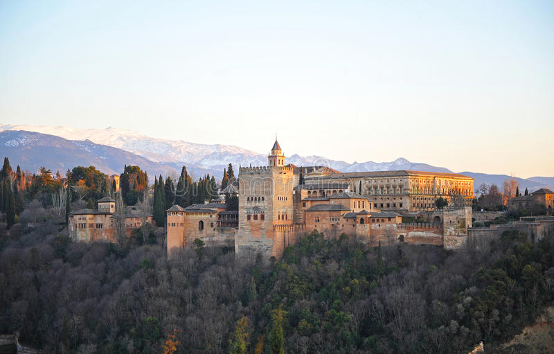 Panoramic View of the Palace of the Alhambra at sunset, Granada, Spain stock photo