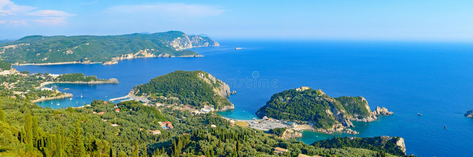 Panoramic view at Paleokastrica bay at Corfu Greece stock photos