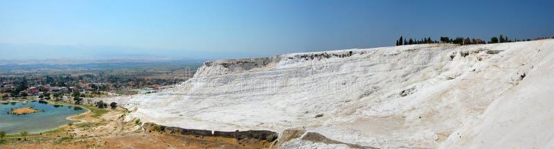 Panoramic view of Pamukkale in Turkey royalty free stock image