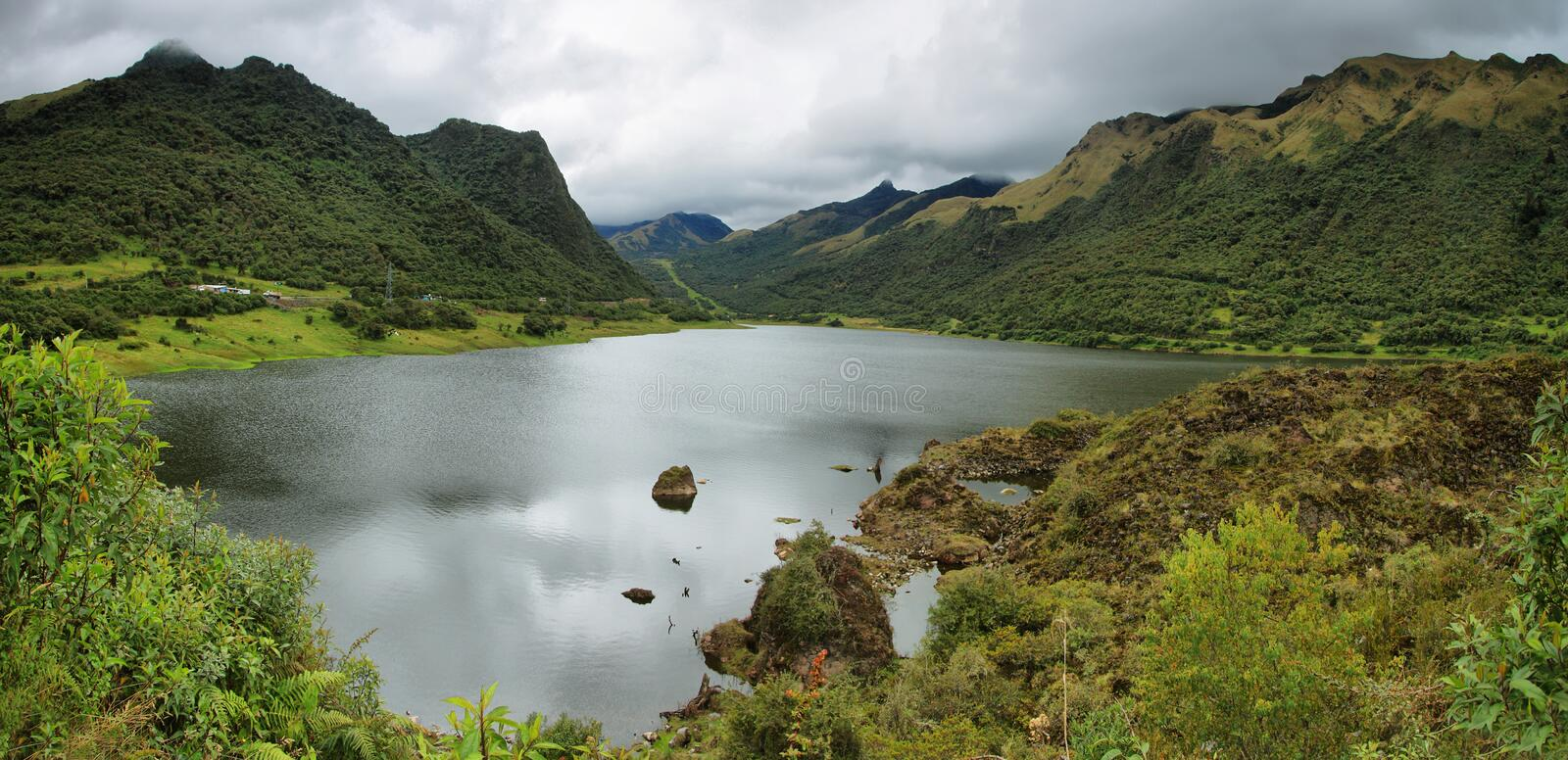Panoramic view of Papallacta lake stock photo