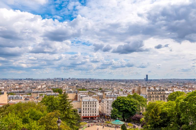 Panoramic View of Paris and Clouds royalty free stock photos