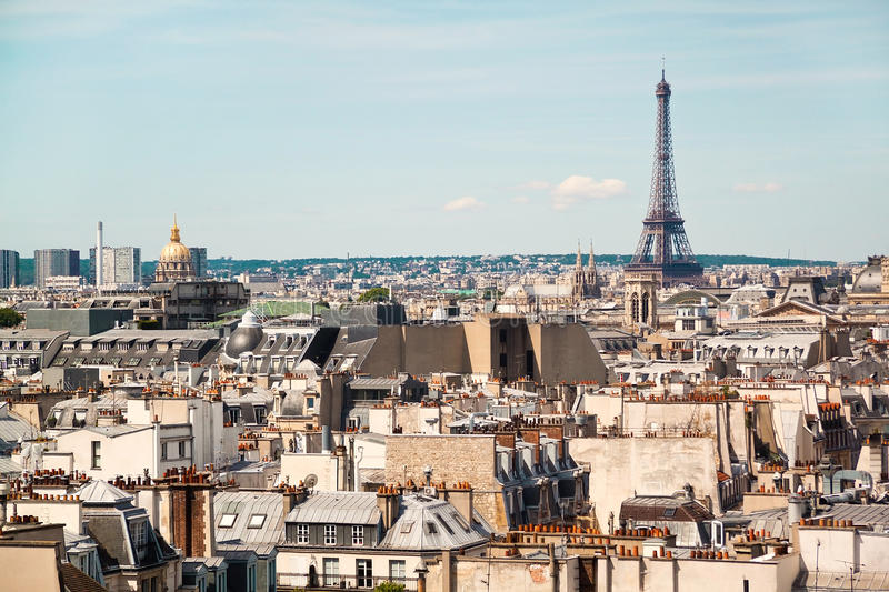 Panoramic view of Paris from the roof of The Centre Pompidou Museum building. France stock image