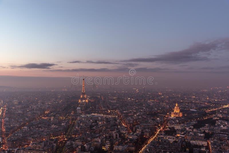 Panoramic view of Paris at Sunset. Panoramique vue de Paris et la Tour Eiffel au coucher du soleil stock photo