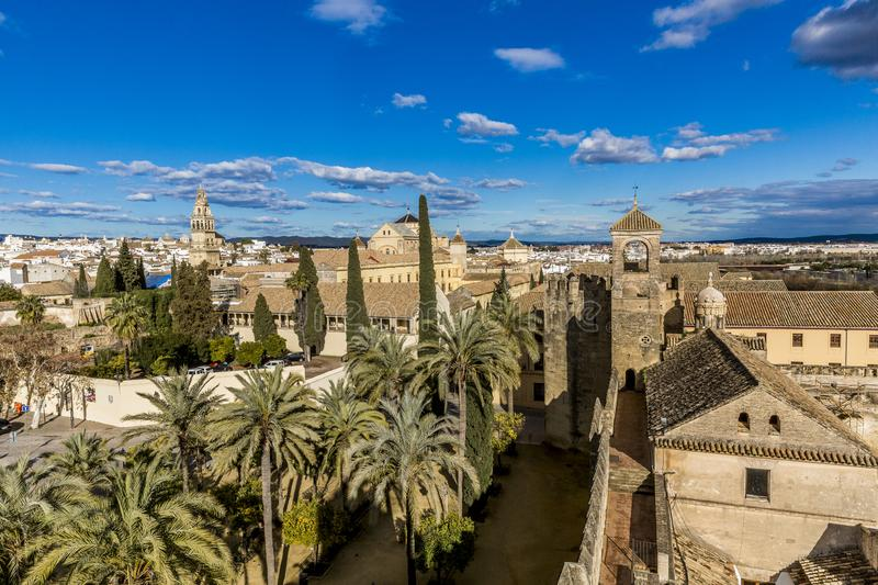 Panoramic view of a part of the city of Cordoba seen from a tower of the Alcazar de los Reyes Cristianos. Wonderful and sunny day with a blue sky in Spain royalty free stock image