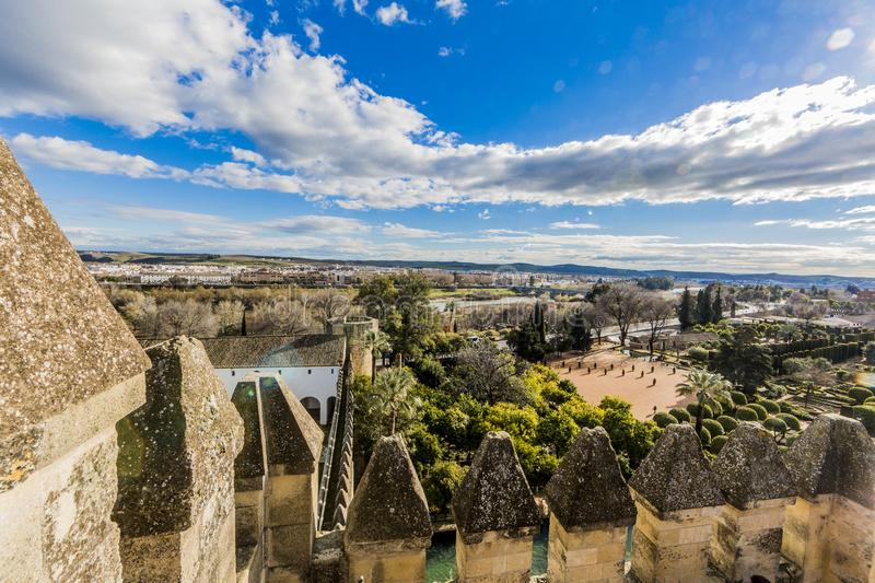 Panoramic view of a part of the gardens of the Alcázar de los Reyes Cristianos and the city of Córdoba stock photography