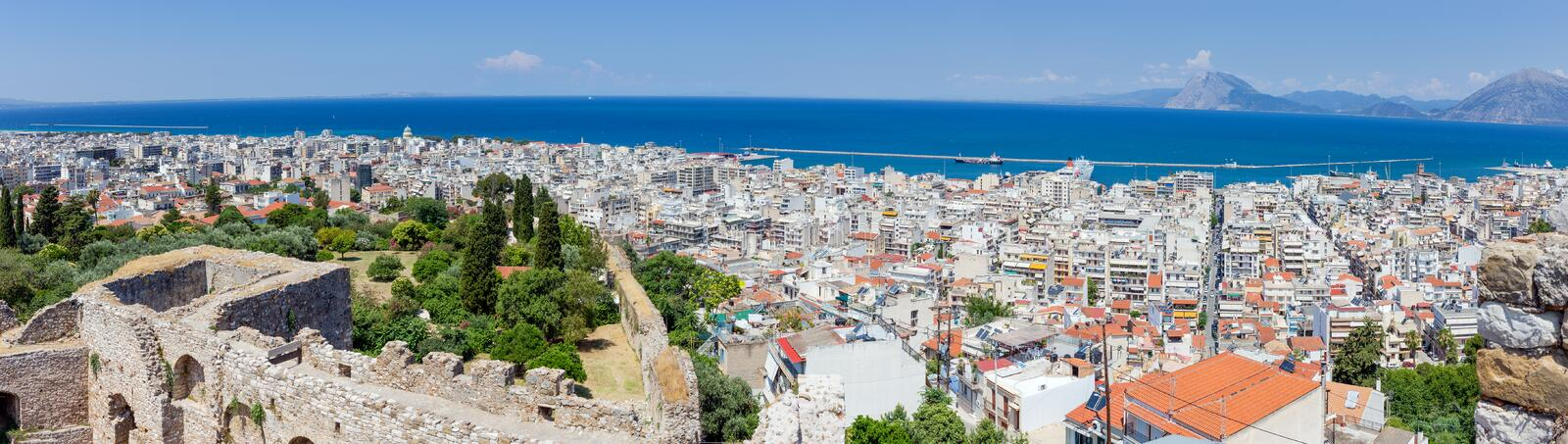 Panoramic view of Patras from the fortress, Greece royalty free stock images