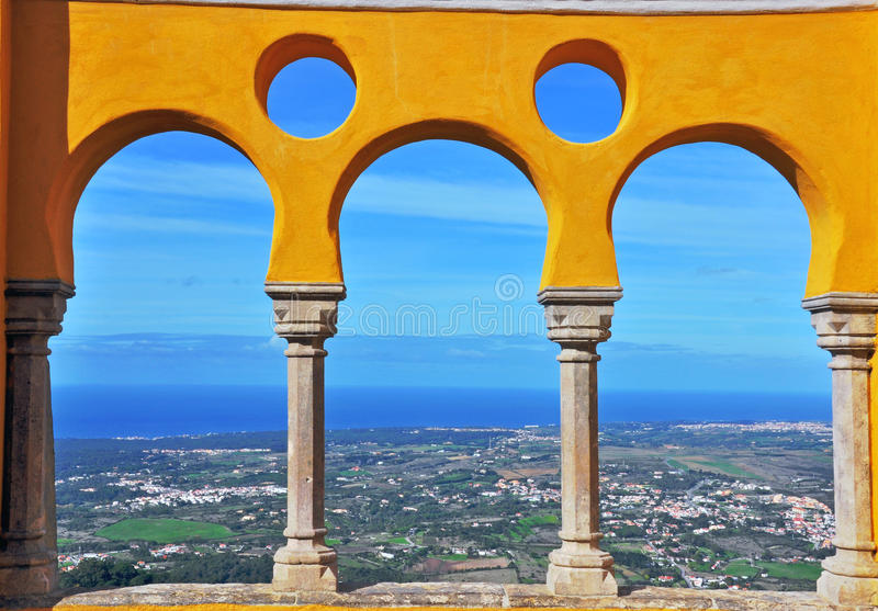 Panoramic view from Pena castle, Portugal stock photos