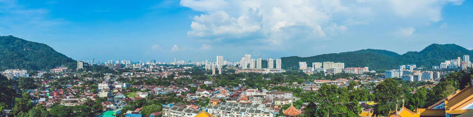 Panoramic View of Penang, Georgetown in Malaysia.  royalty free stock photos