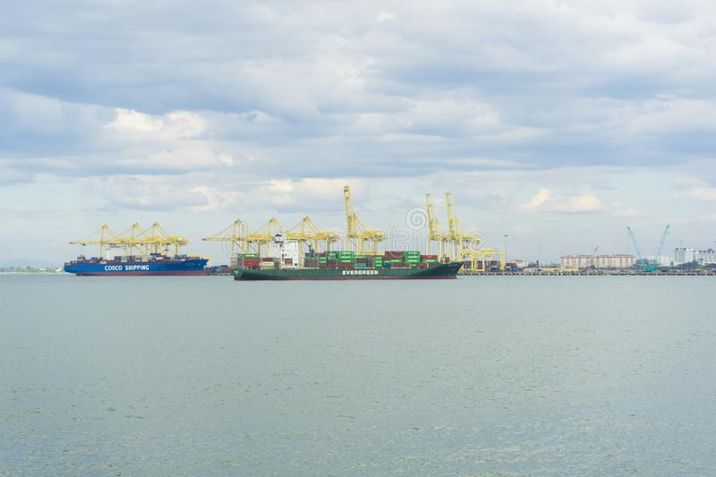View of Penang Port in Butterworth, Malaysia. Panoramic view of Penang Port in Butterworth, Malaysia stock image
