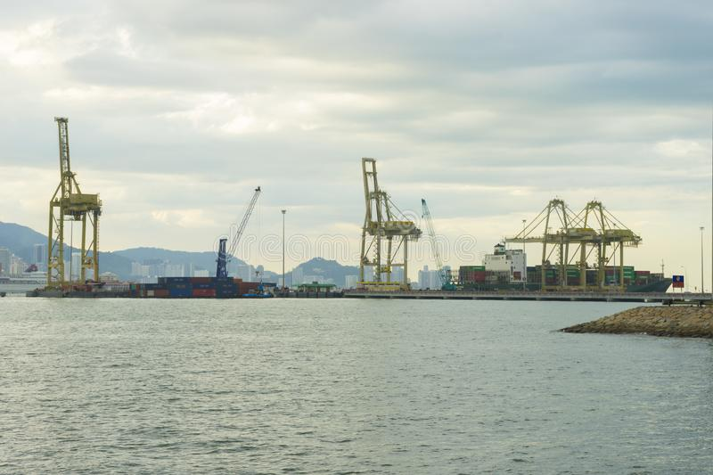 View of Penang Port in Butterworth, Malaysia. Panoramic view of Penang Port in Butterworth, Malaysia royalty free stock images