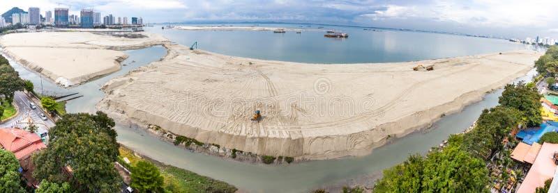 Panoramic view of Penang`s Gurney Drive sea reclamation. Aerial panoramic view of Penang`s Gurney Drive sea reclamation royalty free stock images