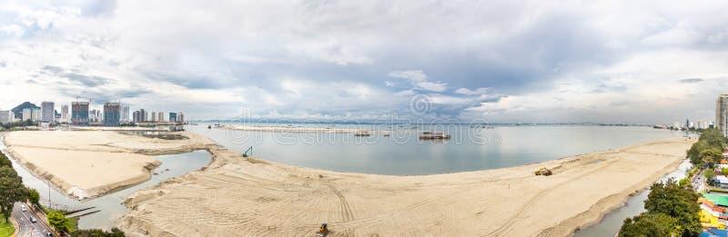 Panoramic view of Penang`s Gurney Drive sea reclamation. Aerial panoramic view of Penang`s Gurney Drive sea reclamation stock photography