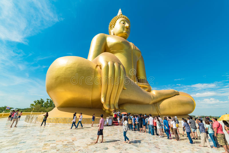 Panoramic view of people worship The Big Buddha stock images