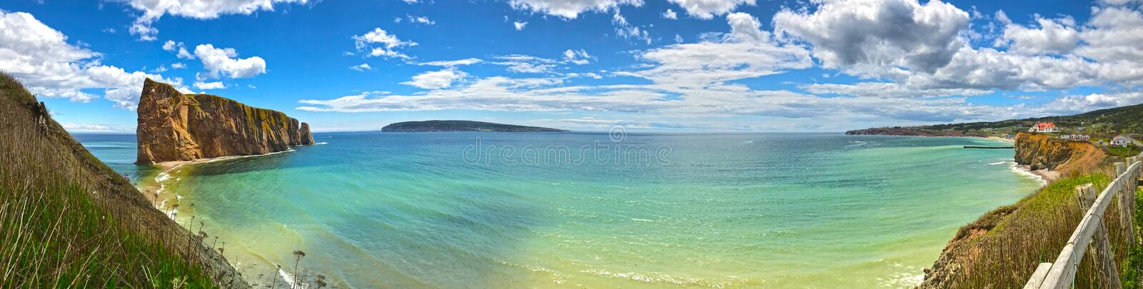 Panoramic view of Percé Rock and Bonaventure Island. royalty free stock image