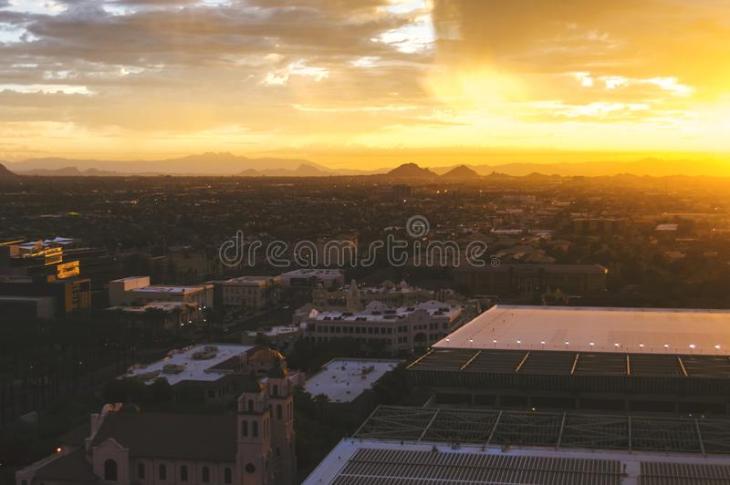 Panoramic view of Phoenix, Arizona, skyline at sunrise. stock images