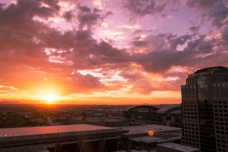 Panoramic view of Phoenix, Arizona, skyline in sunrise light. Phoenix, ARIZONA - October 21 2017: Panoramic view of Phoenix, Arizona, skyline at sunrise stock photography