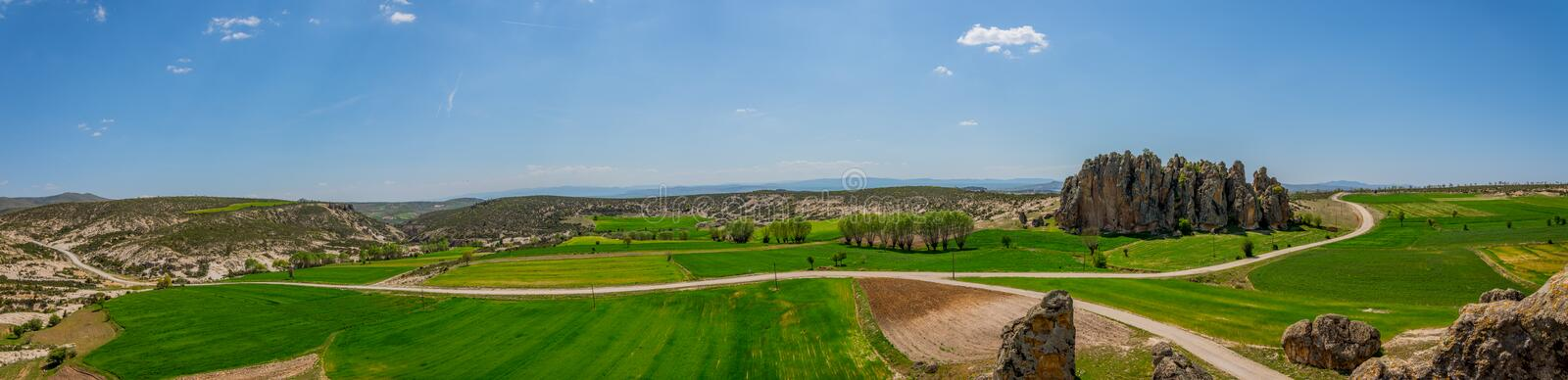 Panoramic view of the Phrygian valley located between Afyon and stock photo
