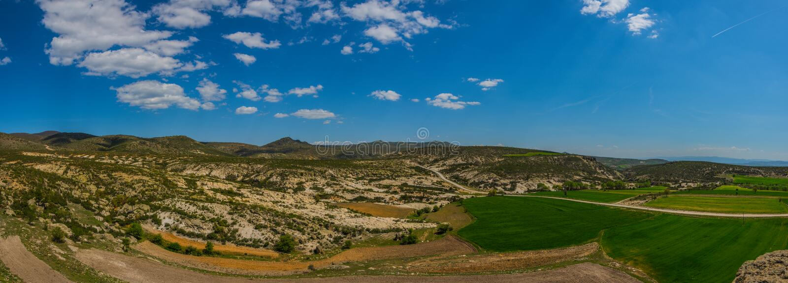 Panoramic view of the Phrygian valley located between Afyon and stock image