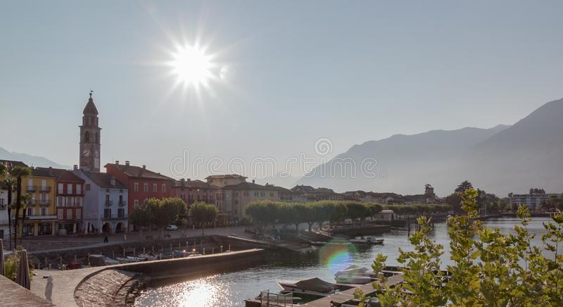 Panoramic view of the piazza in Ascona during a sunny day stock image