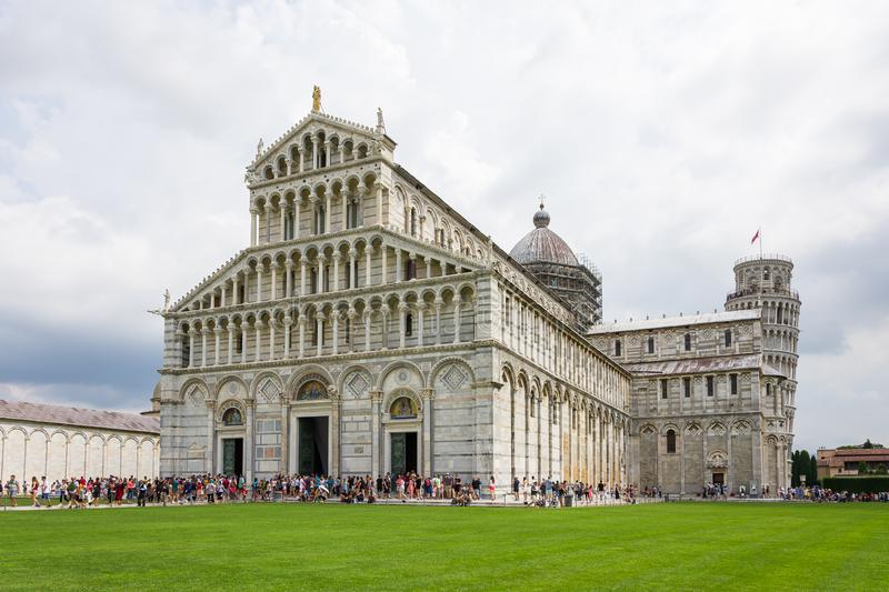 Panoramic view of Piazza dei Miracoli also called Piazza del Duomo of Pisa, in the foreground the  Duomo immediately after you stock image