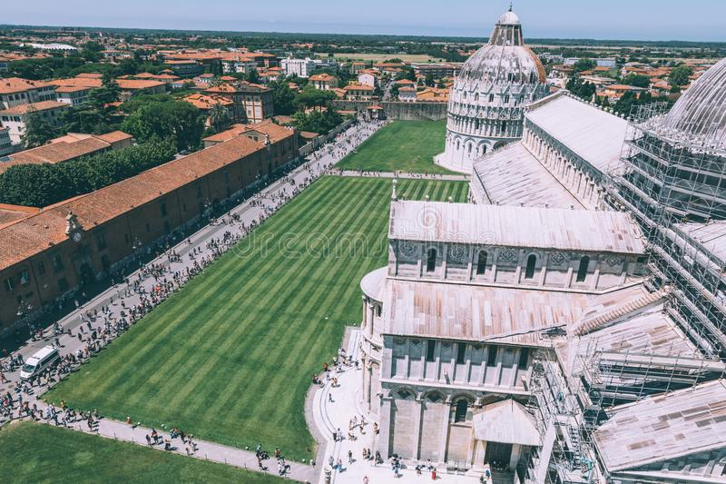 Panoramic view of Piazza del Miracoli with Pisa Cathedral and Baptistery royalty free stock images