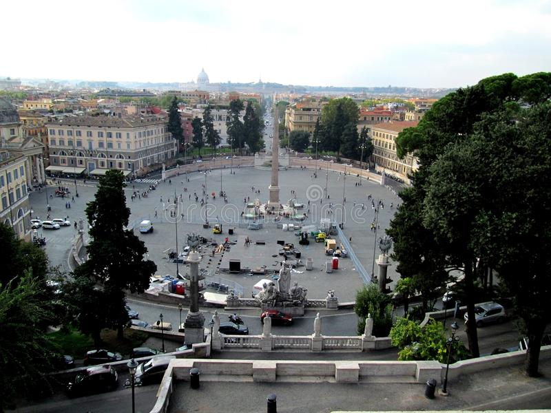 Panoramic view of the Piazza del Popolo from Villa Borghese Rome Italy Obelisk - Dome of Saint Peter royalty free stock photography