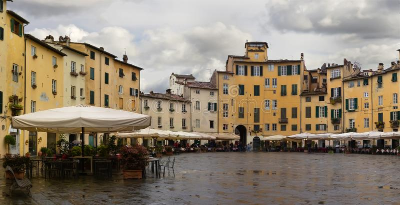 Piazza dell Anfiteatro in Lucca. Tuscany, Italy. Panorama stock photography