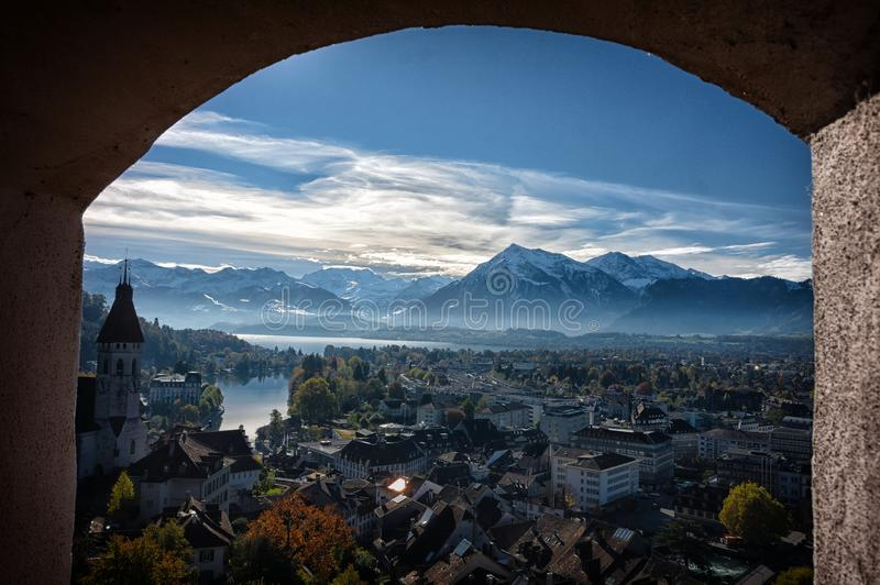 View of Thun through the window stock photography