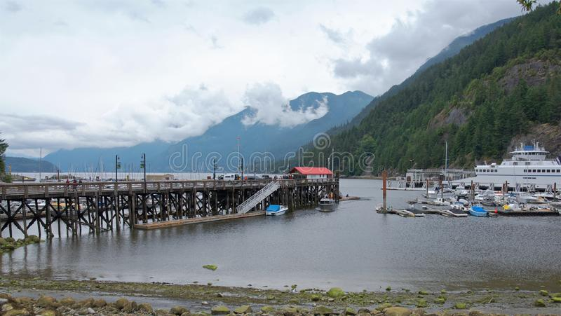 Panoramic view of the pier in Horseshoe Bay royalty free stock photos