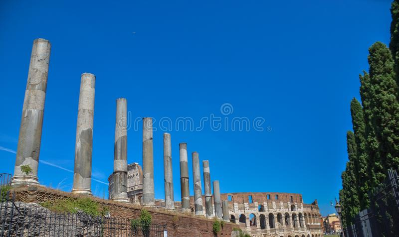 Panoramic view of pillars at forum Romanian, Italy. Picture taken during bright sunny skyn royalty free stock images