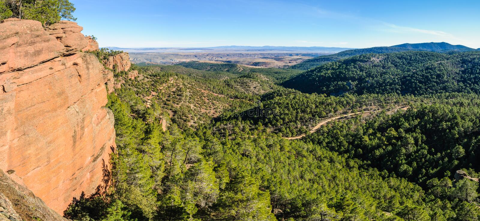 Panoramic view in Pinares del Rodeno Natural Park, Spain stock image