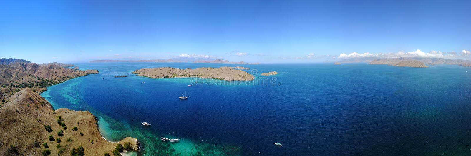 Panoramic view of Pink Beach. stock photography