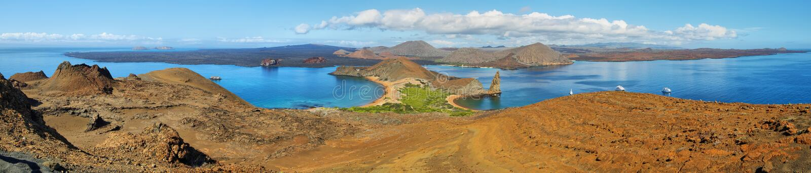Panoramic view of pinnacle Rock and surroundings in Bartolome stock photos
