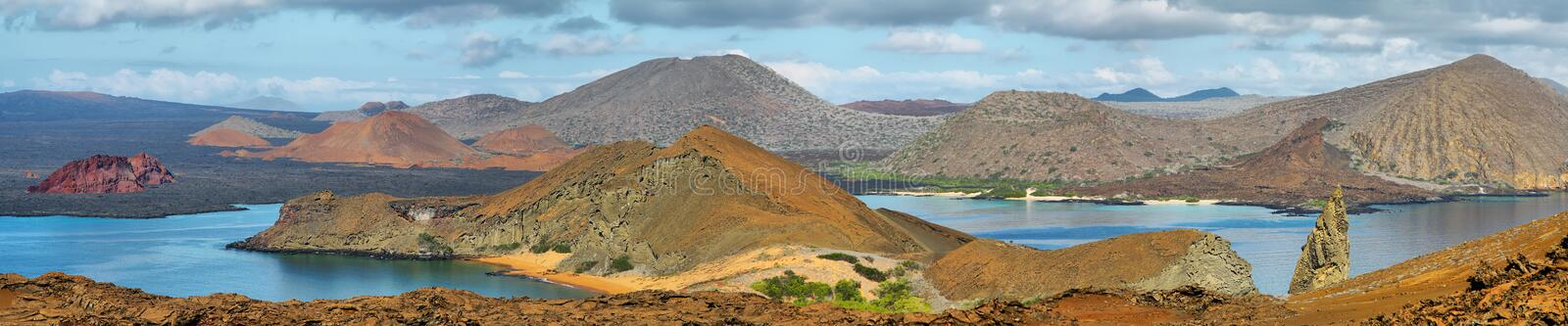 Panoramic view of pinnacle Rock and surroundings in Bartolome royalty free stock photos