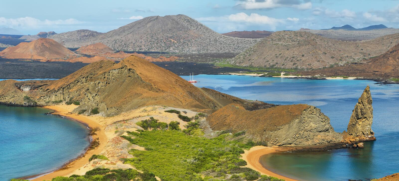 Panoramic view of pinnacle Rock and surroundings in Bartolome royalty free stock image