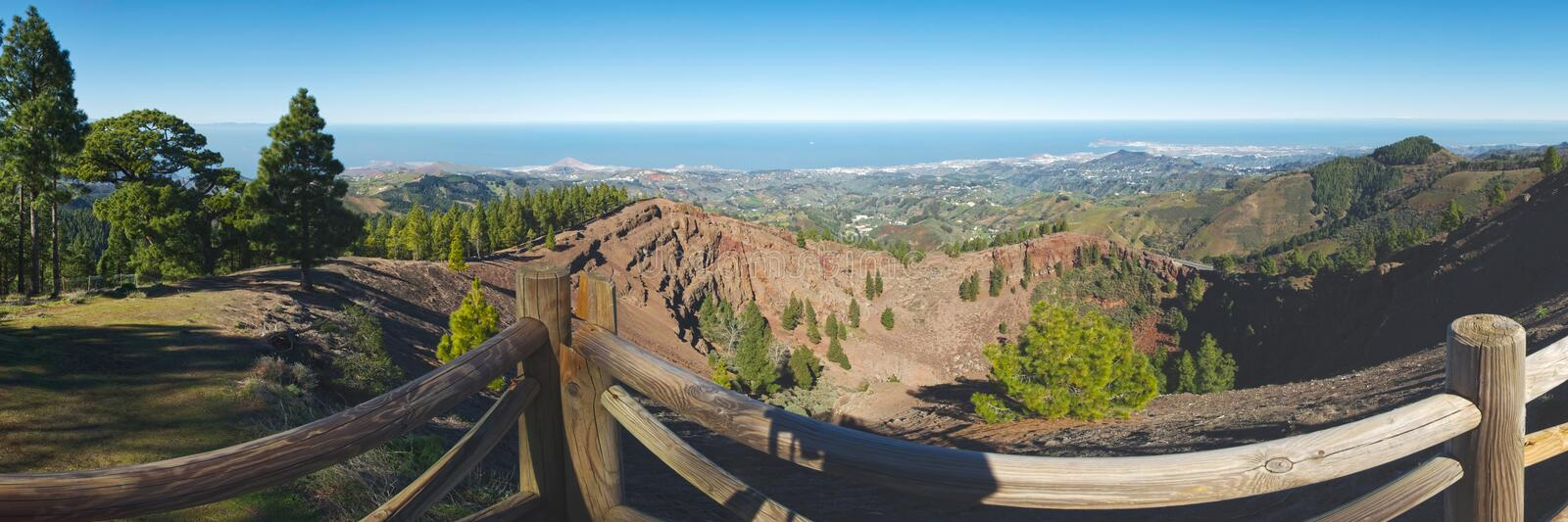 Panoramic view from Pinos del Galdar into the Crater rim, Gran Canaria. (Spain stock photo