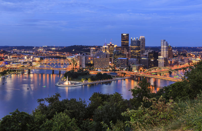 Download Panoramic View Of Pittsburgh In Twilight Editorial Stock Image - Image of panoramic, july: 48218064