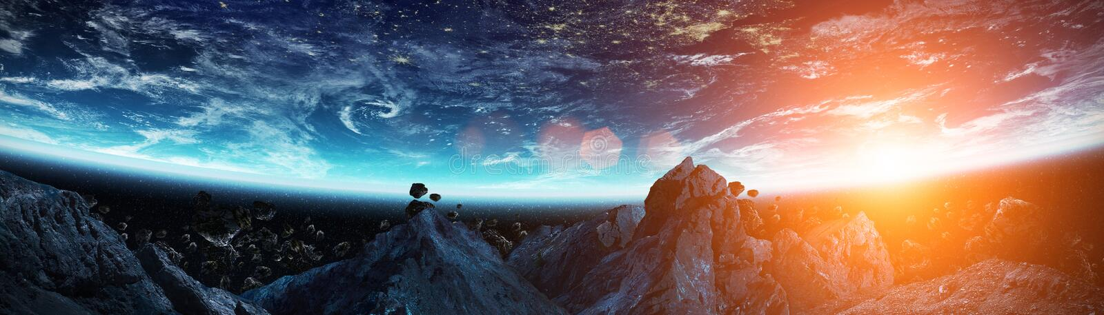 Panoramic view of planet Earth with asteroids flying close 3D re. Panoramic view of planet Earth with asteroids flying close in space 3D rendering elements of stock illustration