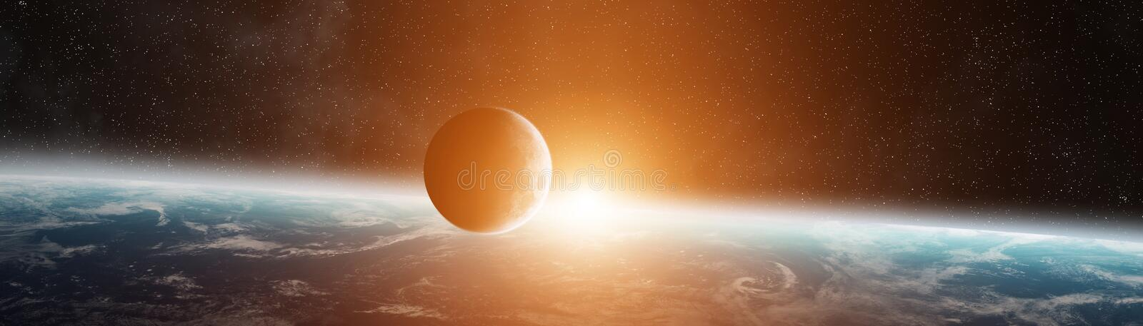 Panoramic view of planet Earth with the moon 3D rendering elements of this image furnished by NASA royalty free illustration