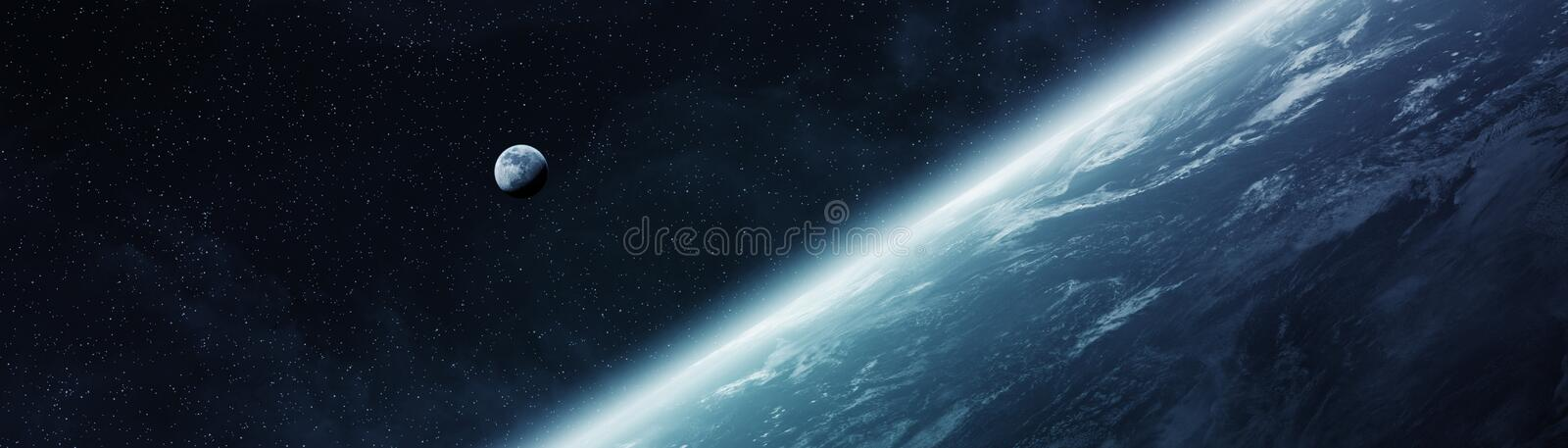Panoramic view of planet Earth with the moon 3D rendering elements of this image furnished by NASA. Panoramic view of planet Earth with the moon in space 3D vector illustration