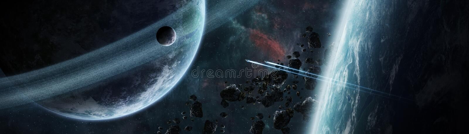 Panoramic view of planets in distant solar system 3D rendering e. Panoramic view of planets in distant solar system in space 3D rendering elements of this image royalty free illustration
