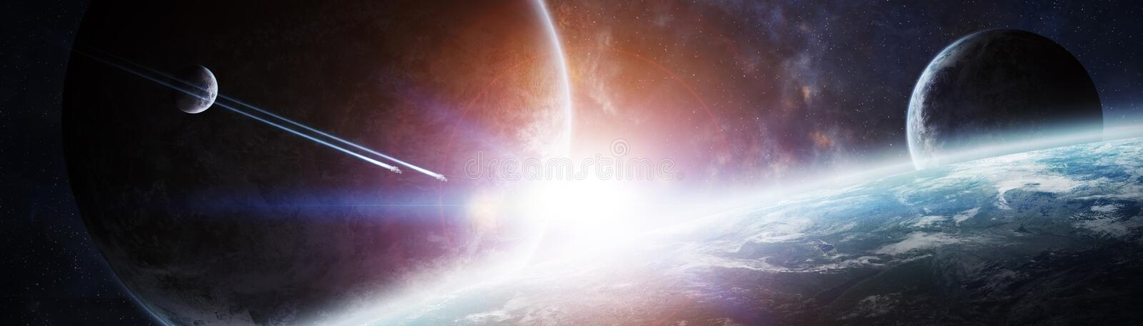 Panoramic view of planets in distant solar system 3D rendering e stock illustration