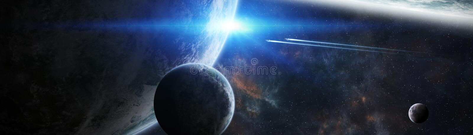 Panoramic view of planets in distant solar system 3D rendering e. Panoramic view of planets in distant solar system in space 3D rendering elements of this image vector illustration