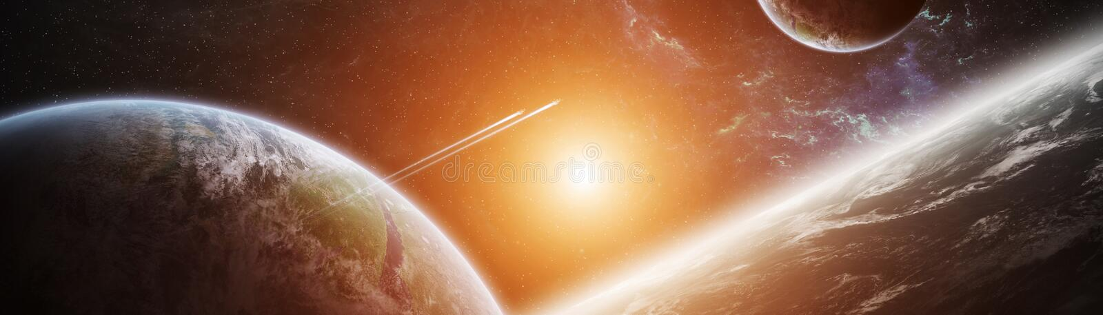 Panoramic view of planets in distant solar system 3D rendering e vector illustration