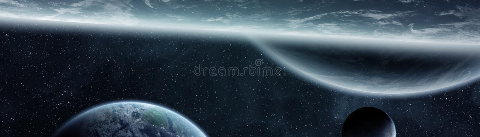 Panoramic view of planets in distant solar system 3D rendering e. Panoramic view of planets in distant solar system in space 3D rendering vector illustration