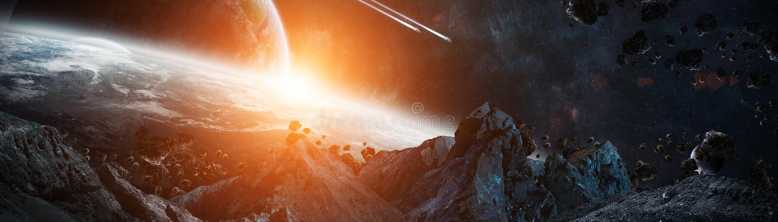 Panoramic view of planets in distant solar system 3D rendering e royalty free illustration