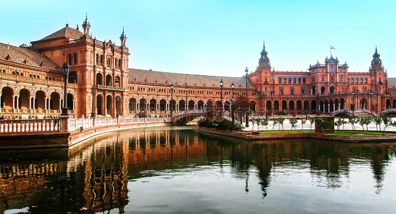 Panoramic view of Plaza de Espana, Seville, Spain is a lovely spring morning royalty free stock photography