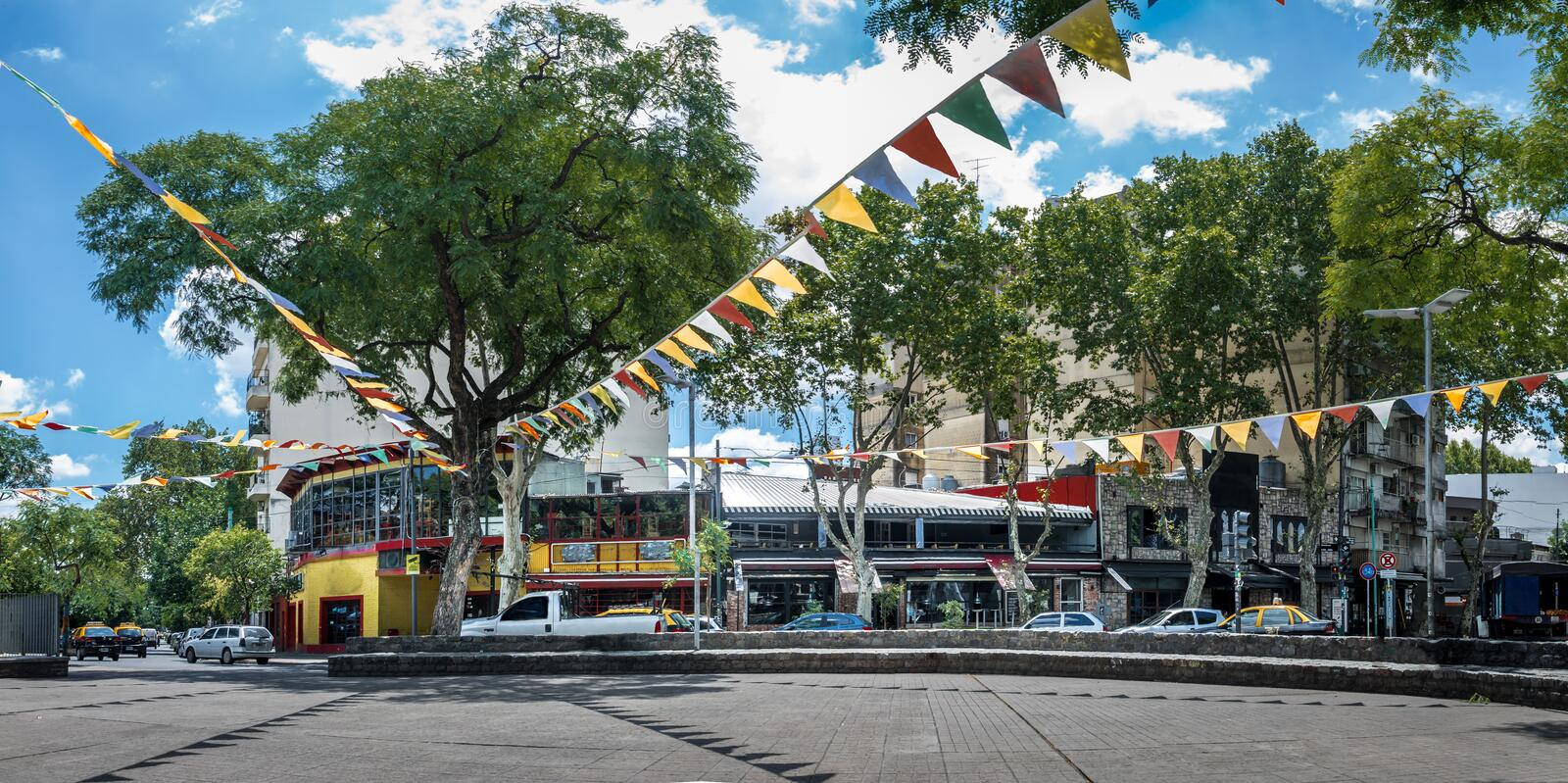 Panoramic View of Plaza Serrano in Palermo Soho neighborhood - Buenos Aires, Argentina. Panoramic View of Plaza Serrano in Palermo Soho neighborhood in Buenos royalty free stock photography