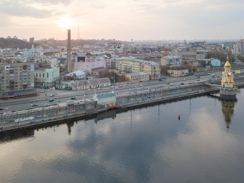 Panoramic view of the Podol district and church of St. Nicholas on the water Kiev city, Ukraine stock image